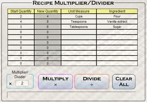 recipe multiplier/divider