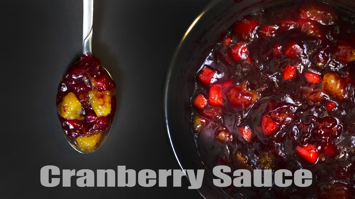 A spoonful of cranberry sauce.
